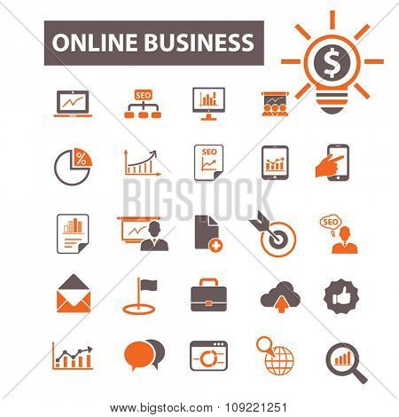online business, strategy  icons, signs vector concept set for infographics, mobile, website, application