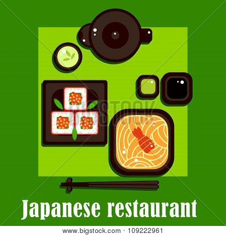 Traditional japanese cuisine and utensil