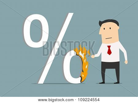 Businessman burning a high percent symbol