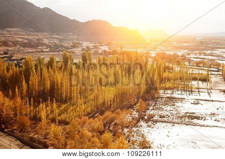 Indus River in sunrise view during falls season, Leh, Ladakh, India