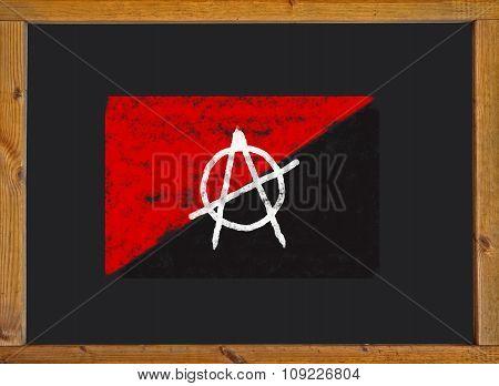 anarchist flag on a blackboard