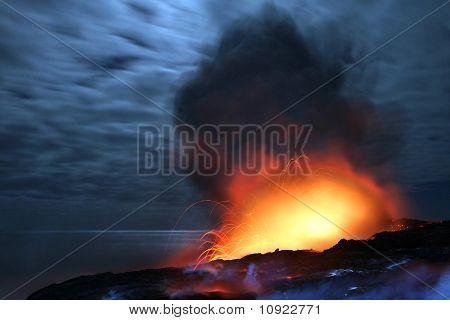 Exploding Lava at Night