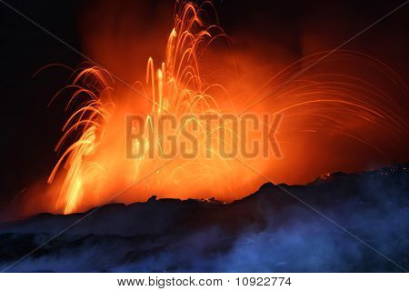 Erupting Volcano at Night