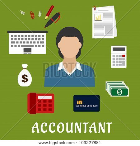 Accountant profession and objects flat icons