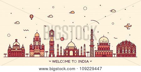 Indian skyline Bangalore Mumbai Ahmedabad Delhi Hyderabad Jaipur landmarks Trendy vector illustration linear style poster