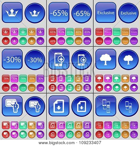 Crown, Discount, Exclusive, Discount, Smarphone, Tree, Graph, File, Connection. A Large Set Of