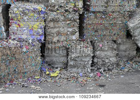 Heaps Of Waste Paper In The Paper Mill