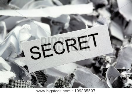 papierschnitzel tagged secret, symbol photo for data destruction, banking secrecy and industrial espionage