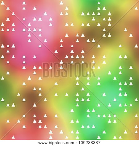 Seamless Pattern With Triangle Motif On Colorful Background