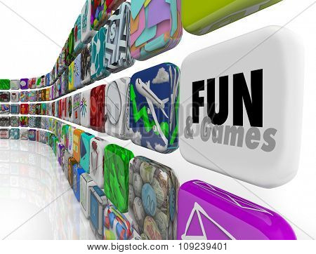 Fun and Games word on an app tile in an application, software or program store or market for downloading to your mobile device or phone