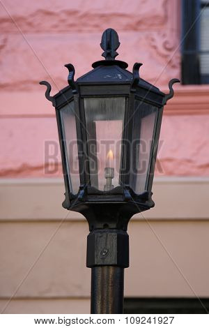 Vintage gas lamp in the front of New York City brownstone