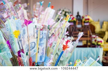 Thai Bank Notes In Buddhism Charity Tradition