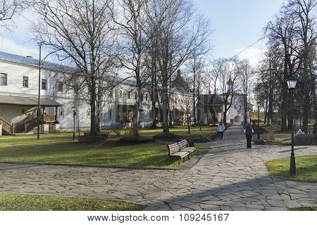 Suzdal, Russia -06.11.2015. Monastic cells and the Gate Church of the territory of   St. Euthymius m