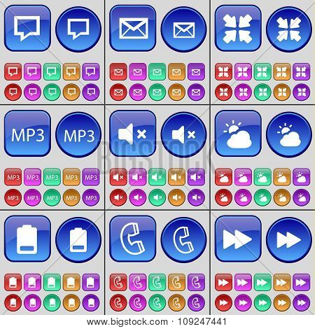 Chat Bubble, Message, Deploying Screen, Mp3, Mute, Cloud, Battery, Receiver, Rewind. A Large Set