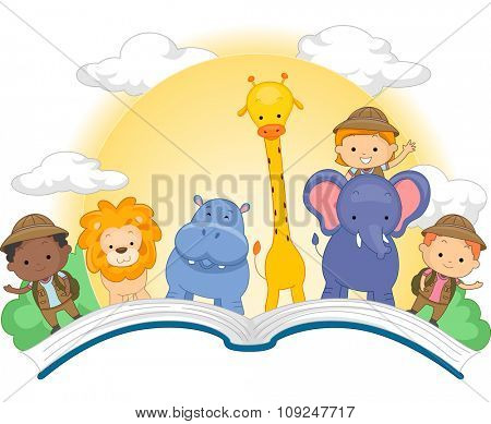 Illustration of an Open Book with Cute Kids and Animals Standing on Top of It