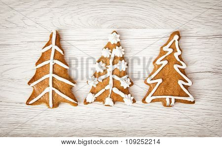 Christmas Trees Shaped Gingerbread Cookies, Yuletide, Merry Christmas