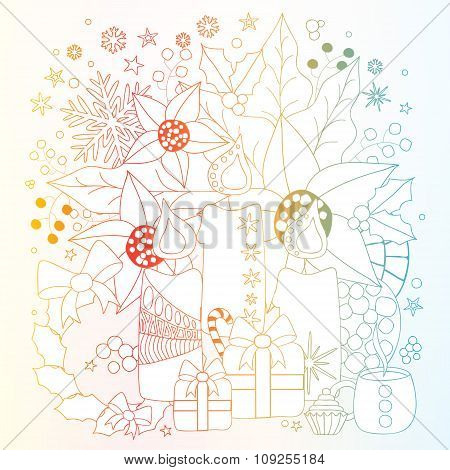 Stock Vector Winter Background With Candle, Snowflakes And Gift. Card, Brochure, Poster Template