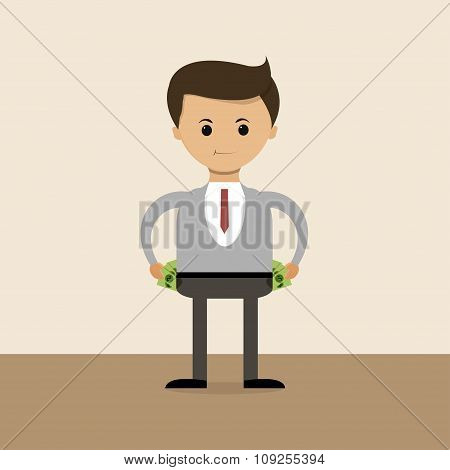 Business Concept In Flat Design. The Richest Businessman Of The World, Their Pockets Full Of Money.