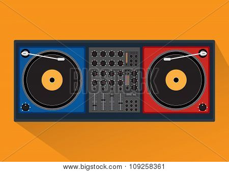 Disk Jockey Player With Long Shadow For Dj Music. Vector Illustration Design.