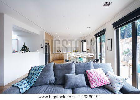 Comfortable Grey Sofa In Open Plan Living Room Contemporary Home
