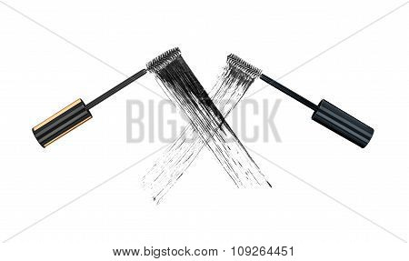 The Concept Of The Duel Of Quality Mascara. Two Stroke Brushes For Mascara On Isolated White Backgro