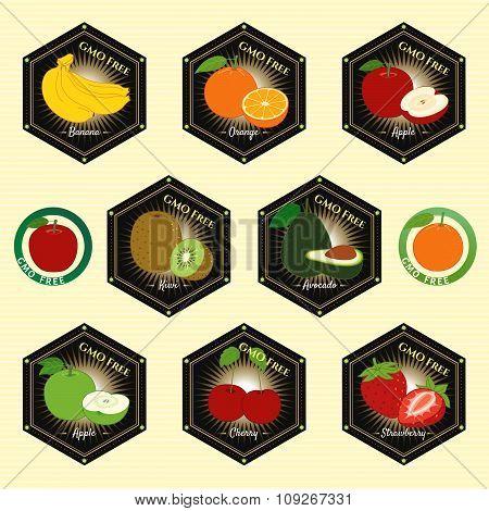 GMO Free Non GMO guarantee tag label emblem sticker poster