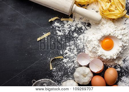 Raw Homemade Fettucine And Ingredients