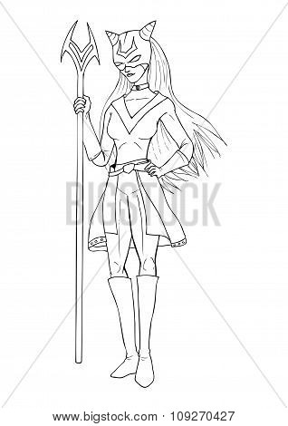Line art illustration of a super-heroine