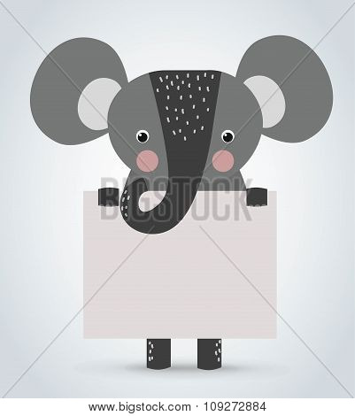 Elephant wild cartoon animal holding clean welcome board vector