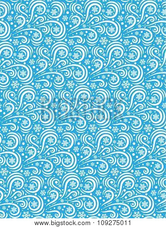 Seamless Pattern Blizzard Ornament Isolated on Blue