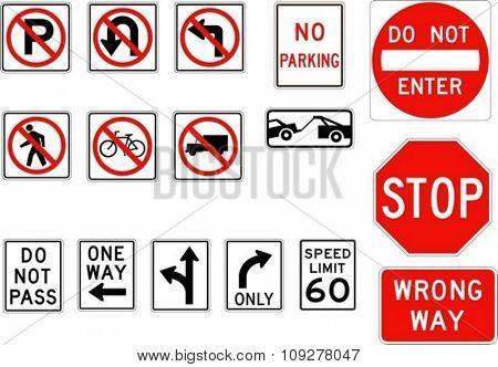 Vector road signs