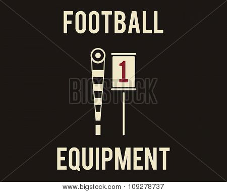 A couple of sideline markers used in American football games. Usa sports equipment in flat design. R