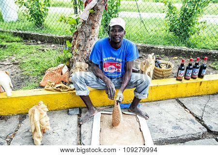 Portrait Of A Woodcarver - Local Resident Of Jamaica.