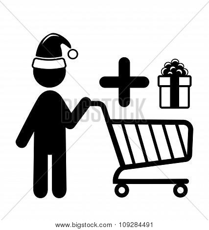 Christmas Shopping Man with Cart and Gift Flat Black Pictogram I