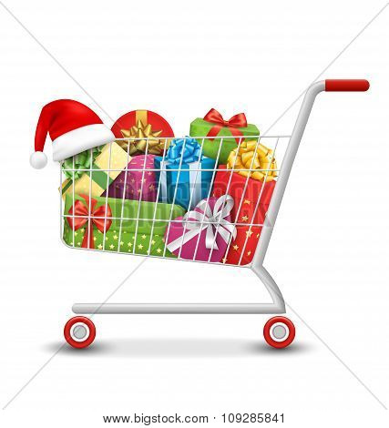 Christmas Sale Colorful Shopping Cart with Gift Boxes and Bags I