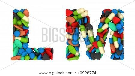 Medication Font L And M Pills Letters