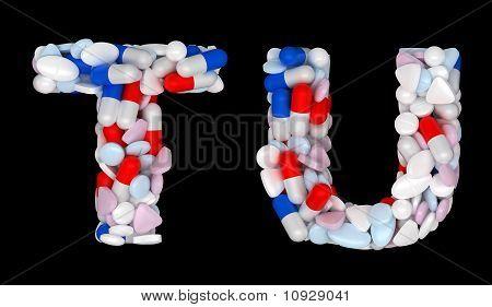 Pharmacy Font T And U Pills Letters