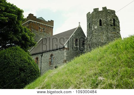 Medieval Dover Castle on the hill above Dover, United Kingdom