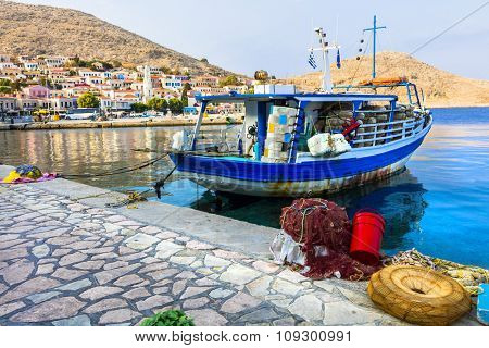 traditional Greek islands - Chalki with fishing boats