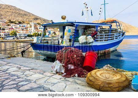 traditional Greek islands - Chalki with with fishing boats