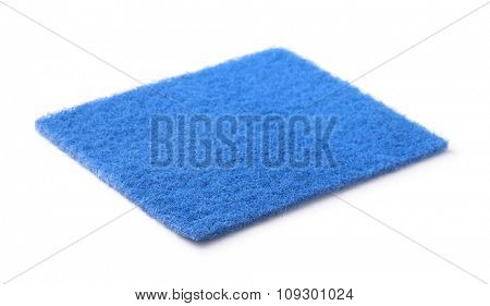 Blue kitchen scourer isolated on white