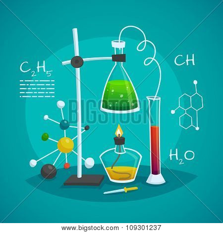 Chemical laboratory workspace design concept with burner flask  and glass tube vector illustration poster