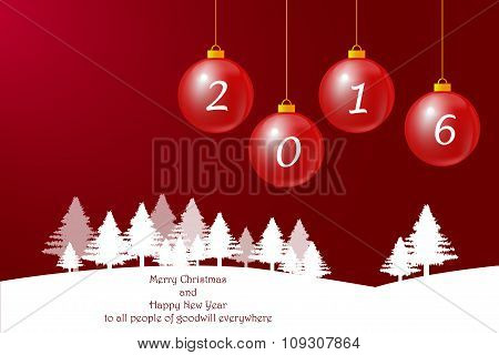 Happy New Year Card In Red