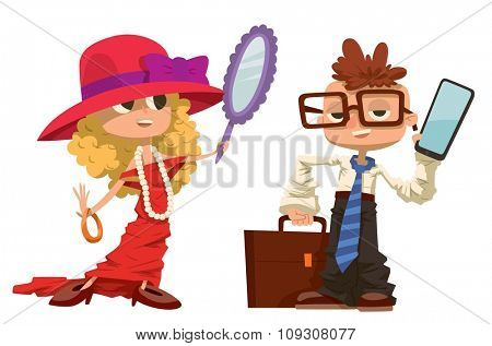 Cartoon boy and girl dressed like mother and father. Vector cartoon boy, girl similar adult man and woman. People professions job search vector. Business kids illustration. Boy, girl future job choice