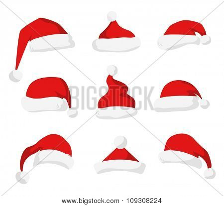 Santa Claus red hat silhouette. Santa hat, Santa red hat isolated on white. Santa hat. New Year 2016 santa red hat . Santa head hat vector. Santa Christmas hat decoration. Santa face hat vector