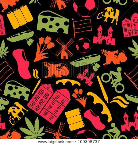 Netherlands Country Theme Symbols Icons Seamless Pattern Eps10