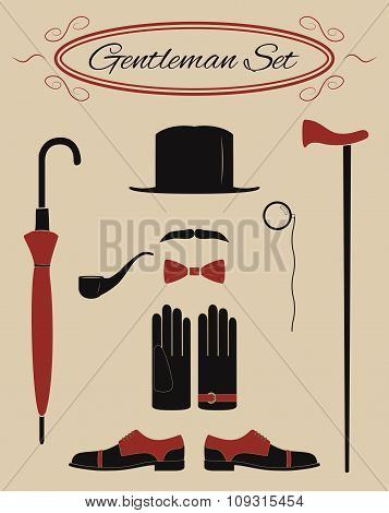Gentleman icon set, vintage style