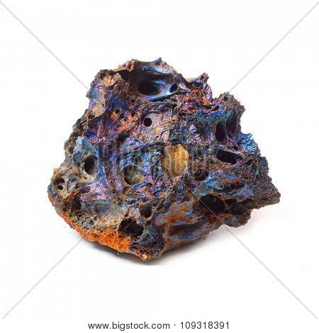 Volcanic lava with high content of different metals from Piton de la Fournaise on Reunion Island.