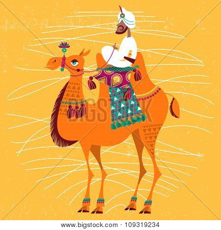Man sitting on a decorated camel.