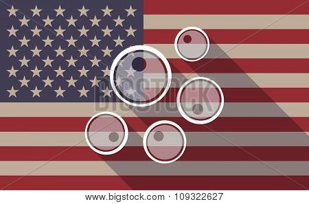 Long Shadow Vector Usa Flag Icon With Oocytes